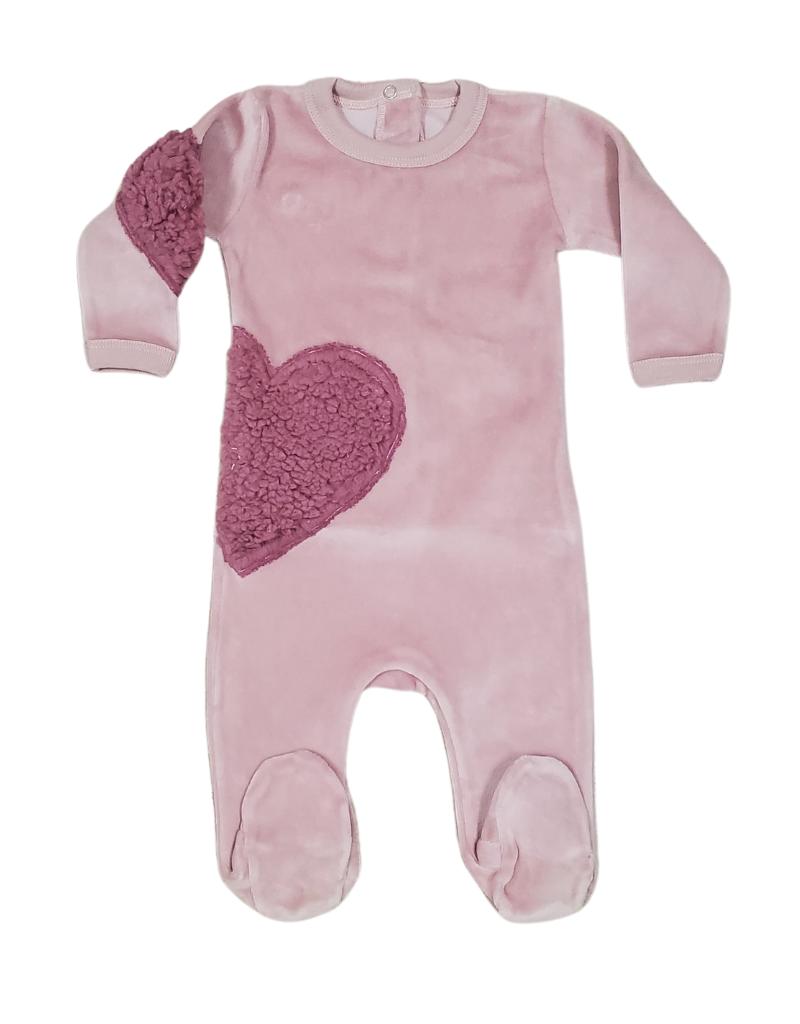 Coton PomPom Coton Pompom Pink Velour Heart Footie