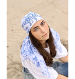 The Scarf Bar The Scarf Bar Blue Floral Toile Headscarf
