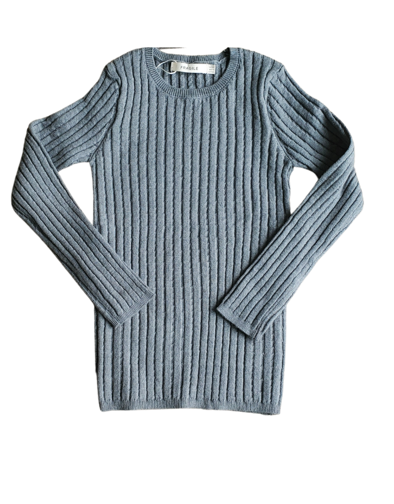 Fragile Fragile Girl Reverse Side of Cable  Knit Top