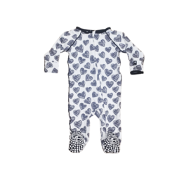 Sweet Bamboo Sweet Bamboo Piped Zipper Footie-Scribble