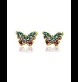 Five Stars Twin Stars Filled Butterfly Earing