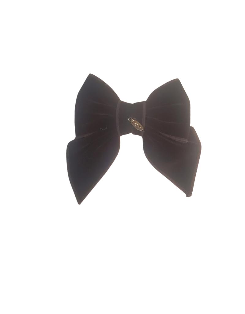 DaCee Dacee Velvet Stitching Bow Medium Clip
