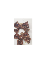 Halo Luxe Halo Luxe Printed Corduroy Double Bow Clips