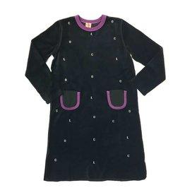 Clo Clo Black/Purple Velvet Robe W/ Pockets