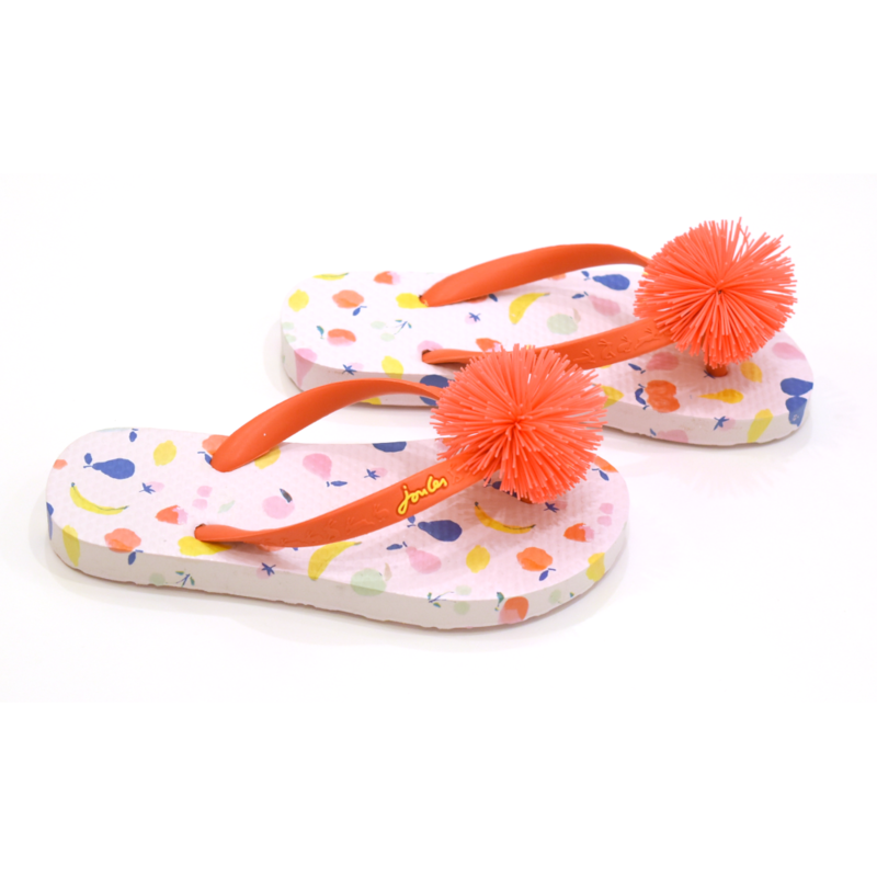 Joules Joules White Jumble Ditsy Flip Flops