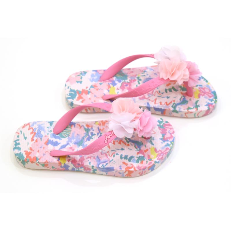Joules Joules White Mermaid Floral Flip Flops