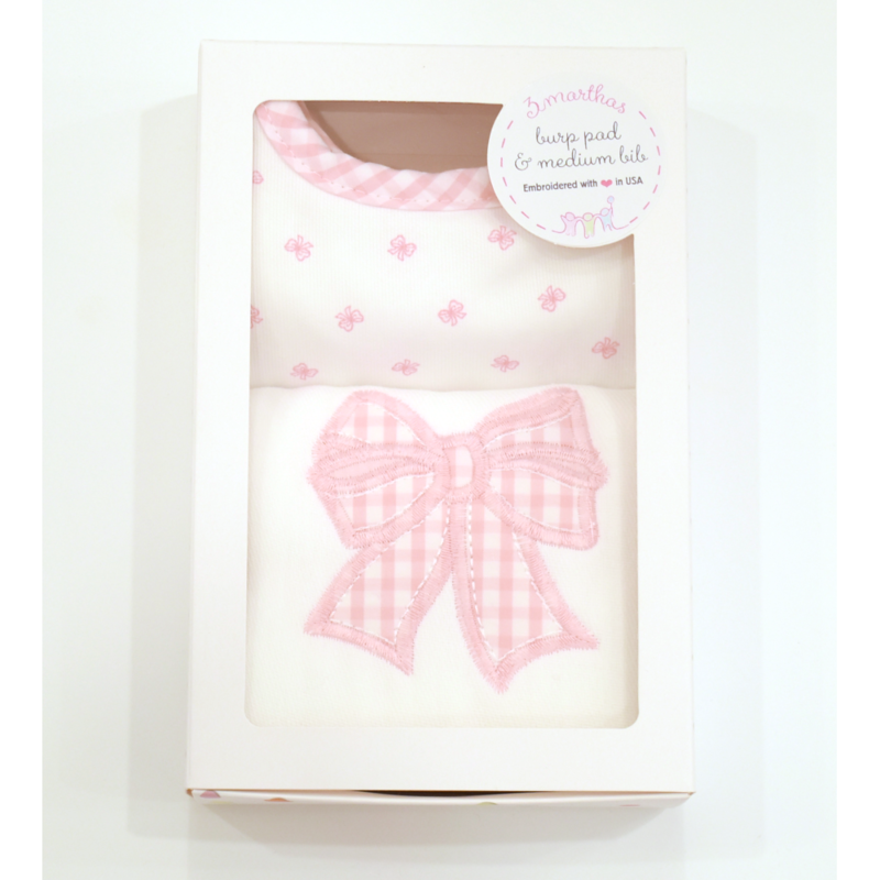 3 Marthas 3 Marthas Pink Bow Bib and Burp Cloth Box Set
