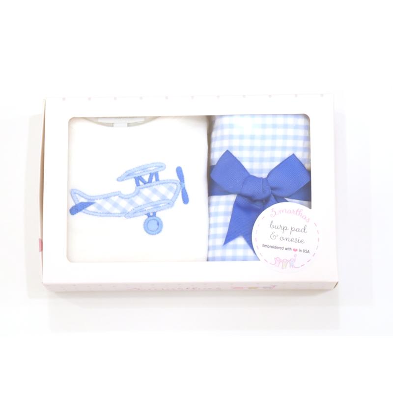 3 Marthas 3 Marthas Blue Plane Onesie & Burp Cloth Box Set