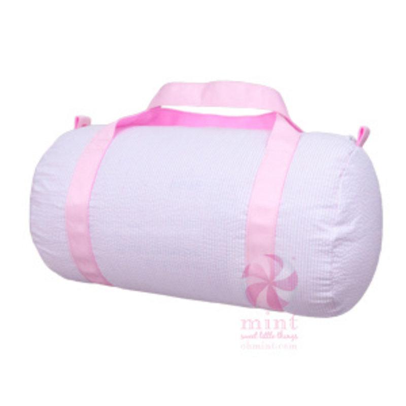 Mint Pink Seersucker Medium Duffel