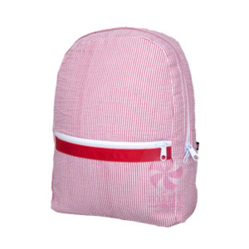 Mint Red Seersucker Medium Backpack