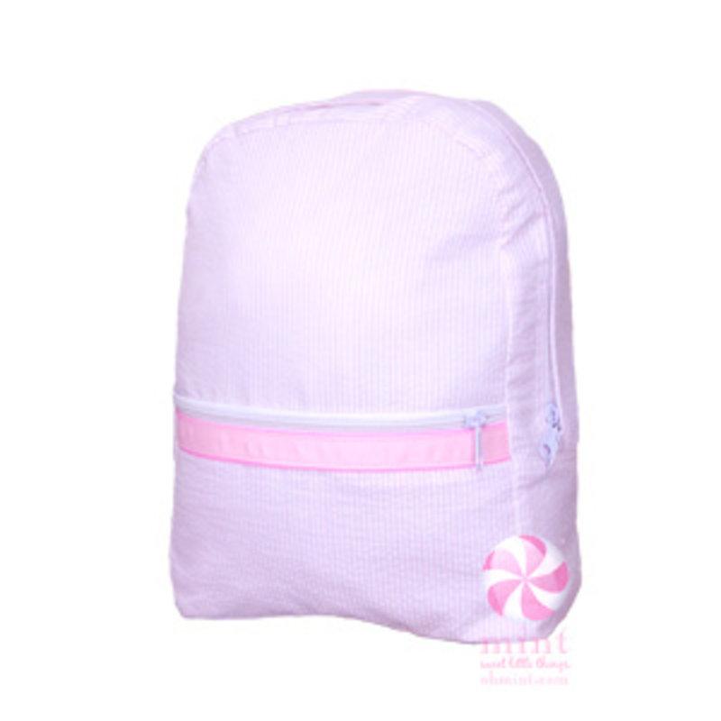 Mint Pink Seersucker Medium Backpack