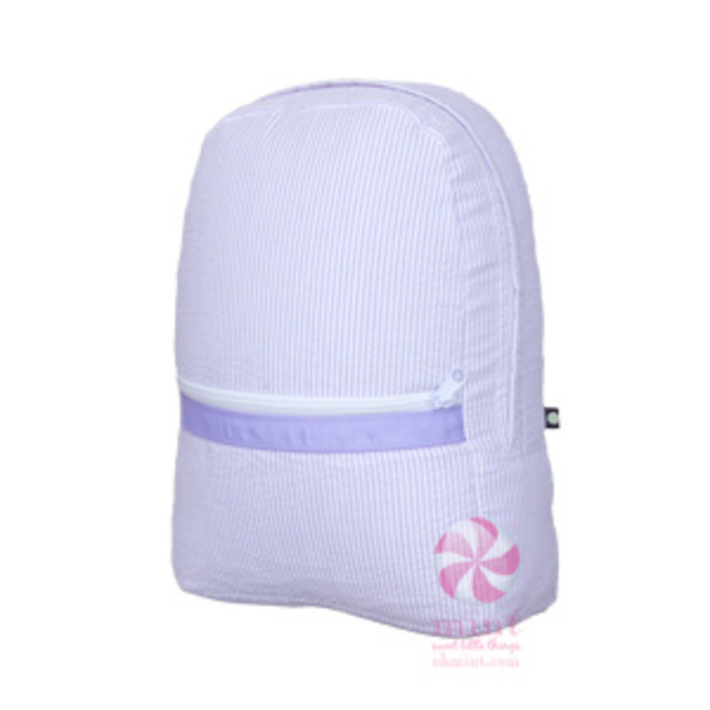 Mint Lilac Seersucker Medium Backpack