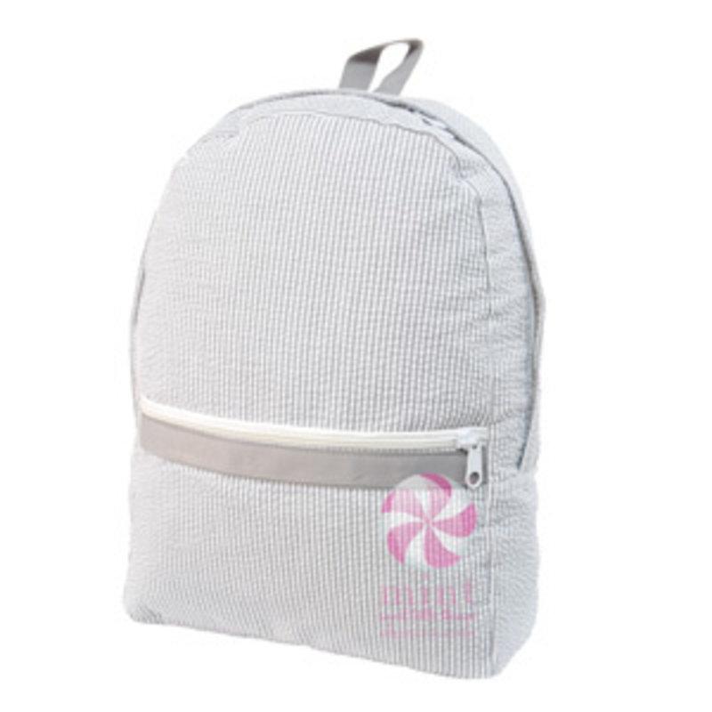Mint Grey Seersucker Medium Backpack
