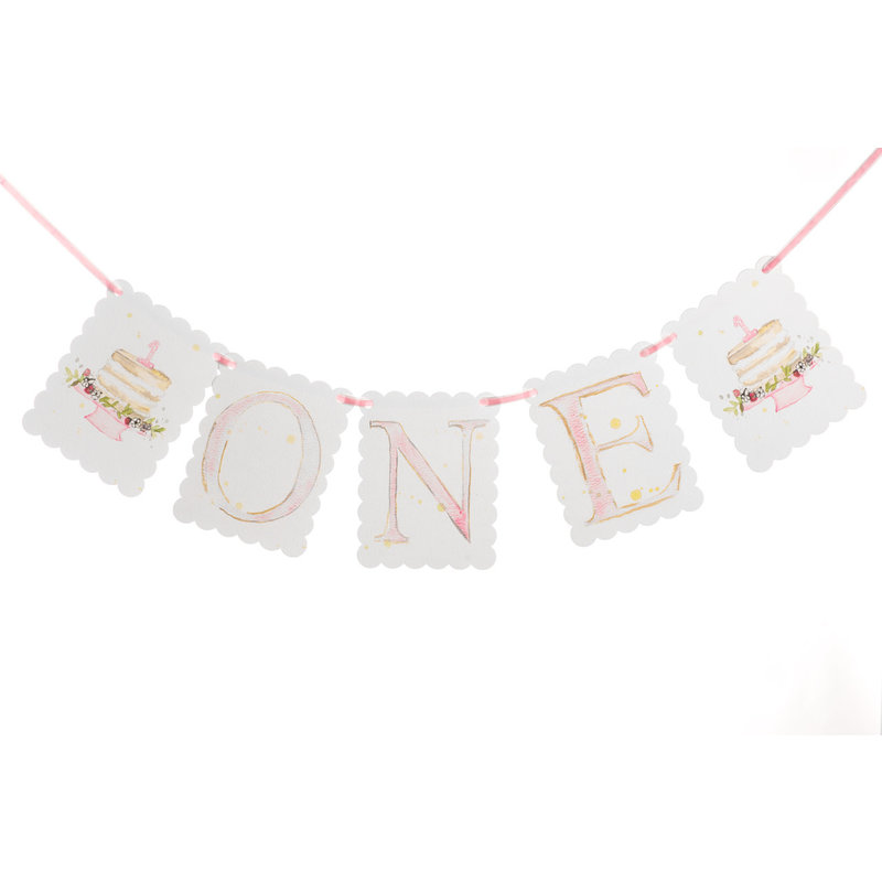 """One"" Birthday Banner Pink"