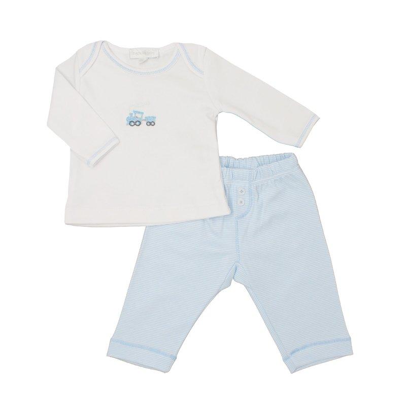 Magnolia Baby Magnolia Baby Tiny Choo Choo Emb 2pc Pant Set Light Blue
