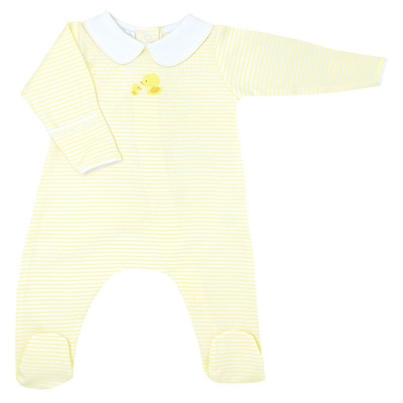 Magnolia Baby Magnolia Baby Tiny Rubber Ducky Embroidered Collared Footie