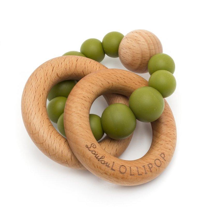 Loulou Lollipop Loulou Lollipop Bubble Wood & Silicone Rattle- Olive