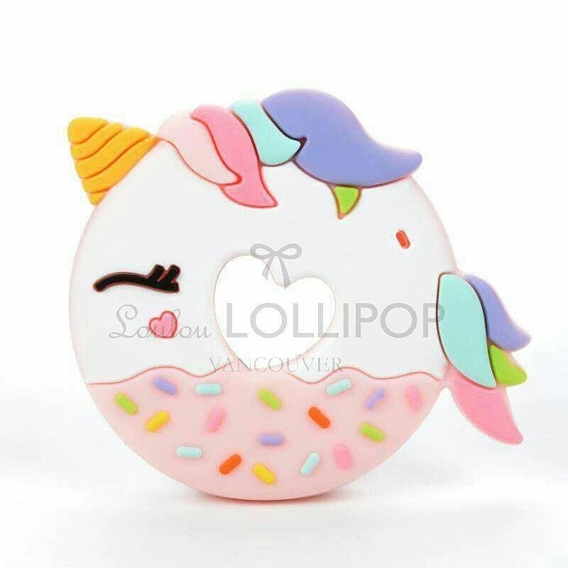 Loulou Lollipop Single Silicone Teether- Unicorn Donut- Pink