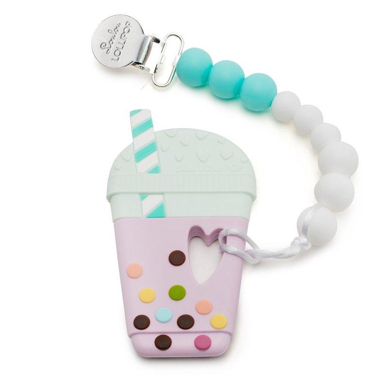 Loulou Lollipop Loulou Lollipop Silicone Teether Set- Bubble Tea- Taro