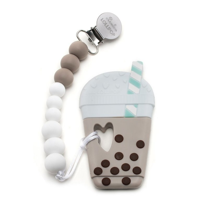 Loulou Lollipop Silicone Teether Set- Bubble Tea