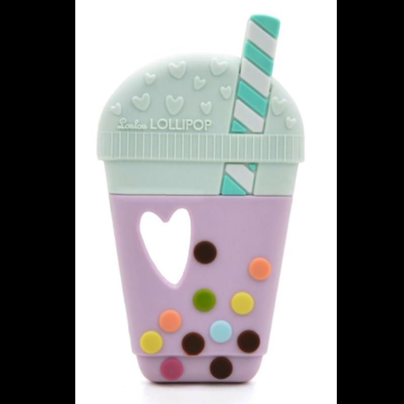 Loulou Lollipop Single Silicone Teether- Bubble Tea- Taro