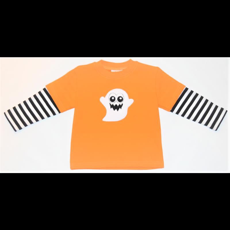 Luigi Luigi Boy's LS Orange Ghost T-Shirt W/ Striped Sleeves