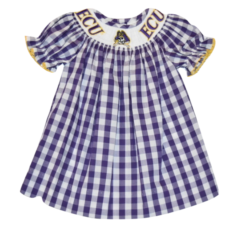 Vive La Fete Vive La Fete East Carolina Smocked Emb Purple Big Check Dress