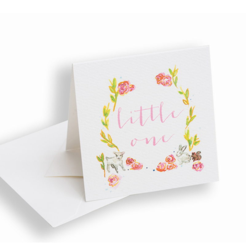 Over the Moon Little One Pink Enclosure Card