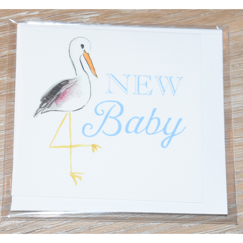 Over The Moon Over The Moon New Baby Blue Stork Enclosure Card