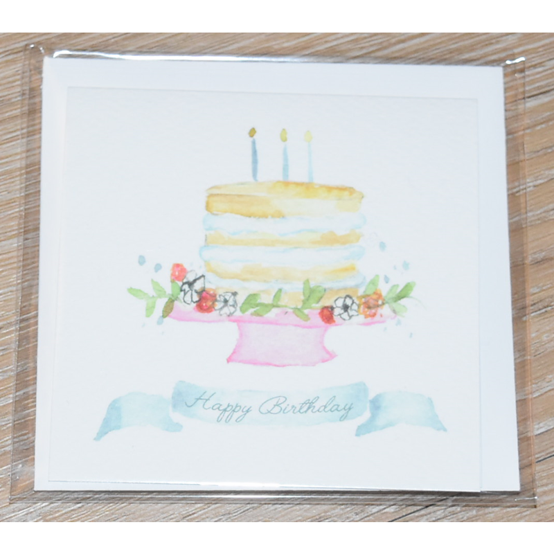 Over the Moon Happy Birthday Blue Candles Enclosure Card