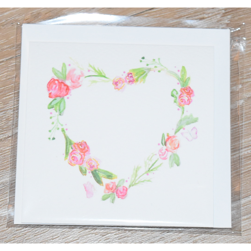 Over the Moon Floral Heart Enclosure Card