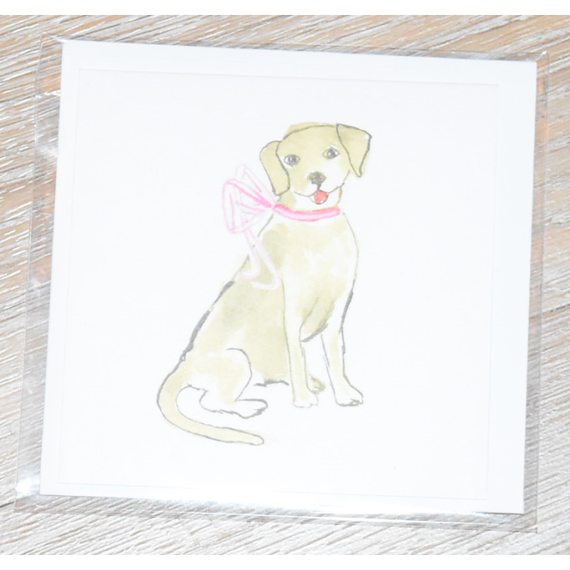 Over the Moon Puppy Dog With Pink Bow Enclosure Card