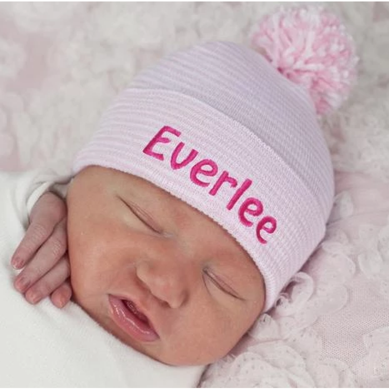Ily Bean Ily Bean Pink/White Striped Mixed w/Pom Newborn Hat