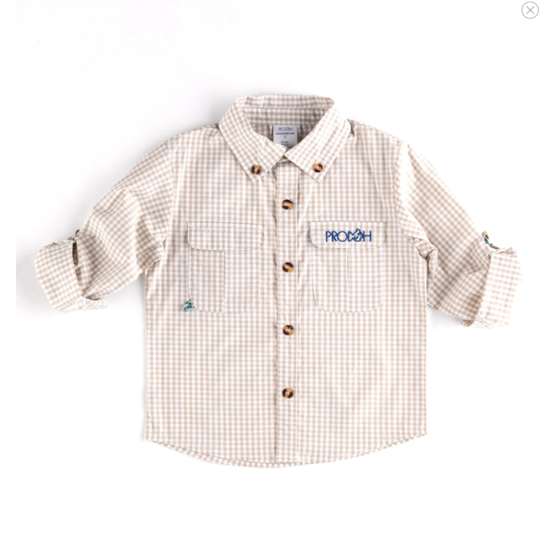 PRODOH PRODOH Gingham Button Down Shirt In Oyster