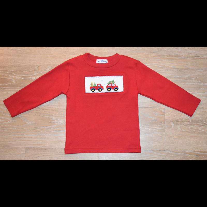 Vive La Fete Vive La Fete Smocked Red Christmas Cars Shirt