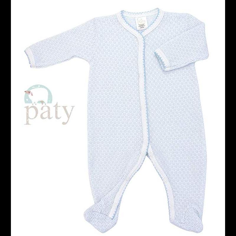 Paty Paty LS Blue Footie w/Straight Sleeve & Trim