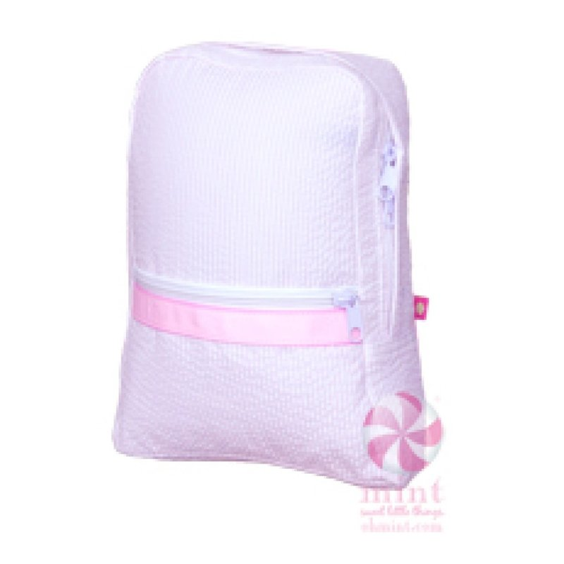 Mint Pink Seersucker Small Backpack