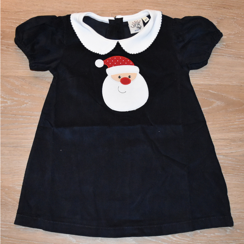 Luigi Luigi SS Santa Face Navy Corduroy Dress