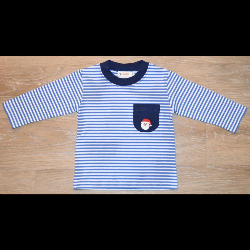 Luigi Luigi Boy's LS Striped T-Shirt w/Santa on Pocket