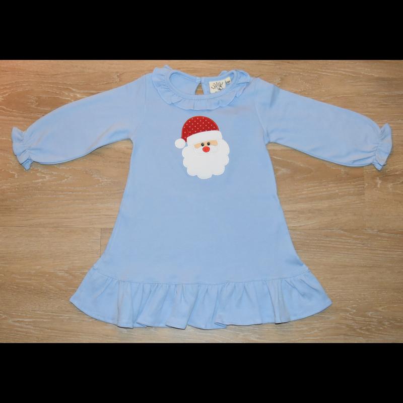 Luigi Luigi LS Santa Sky Blue Dress w/Ruffles