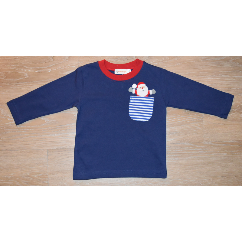 Luigi Luigi Boy's LS T-Shirt w/Santa Coming Out Pocket