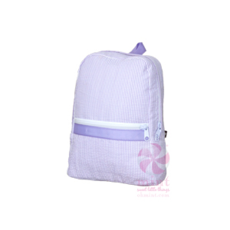 Mint Lilac Seersucker Small Backpack