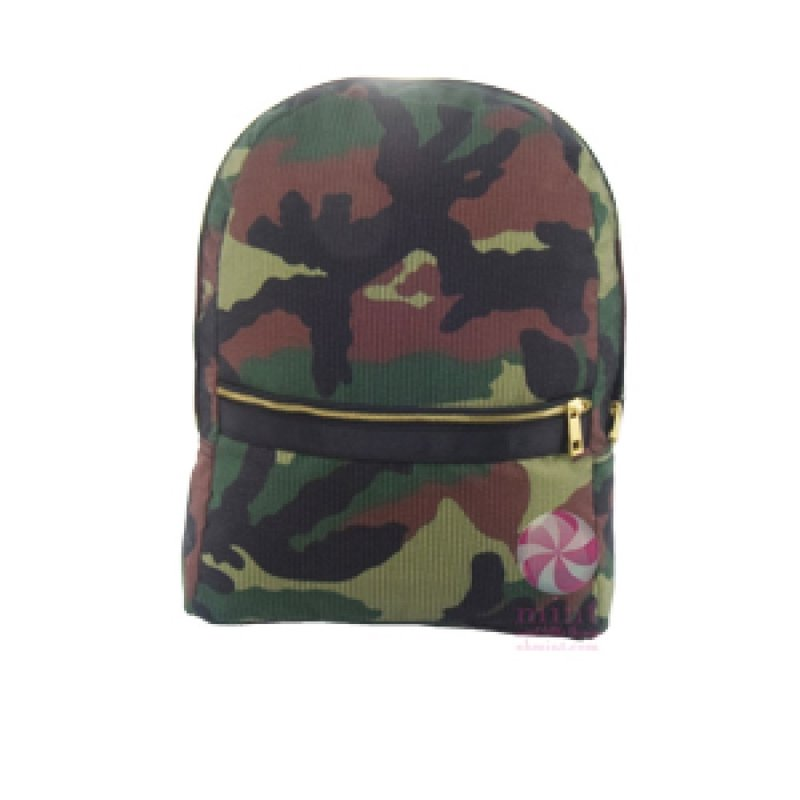 Mint Woodland Seersucker Medium Backpack