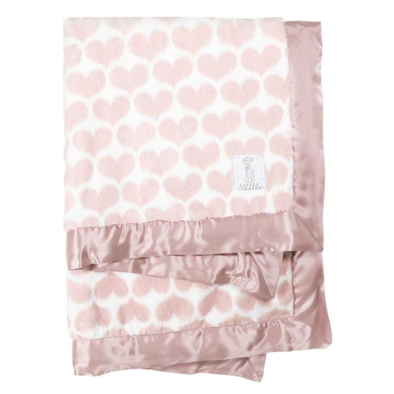 Little Giraffe Dusty Pink Luxe Heart Army Blanket