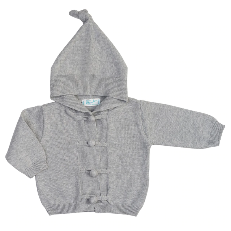 Feltman Brothers Grey Knotted Hood Knit Cardigan