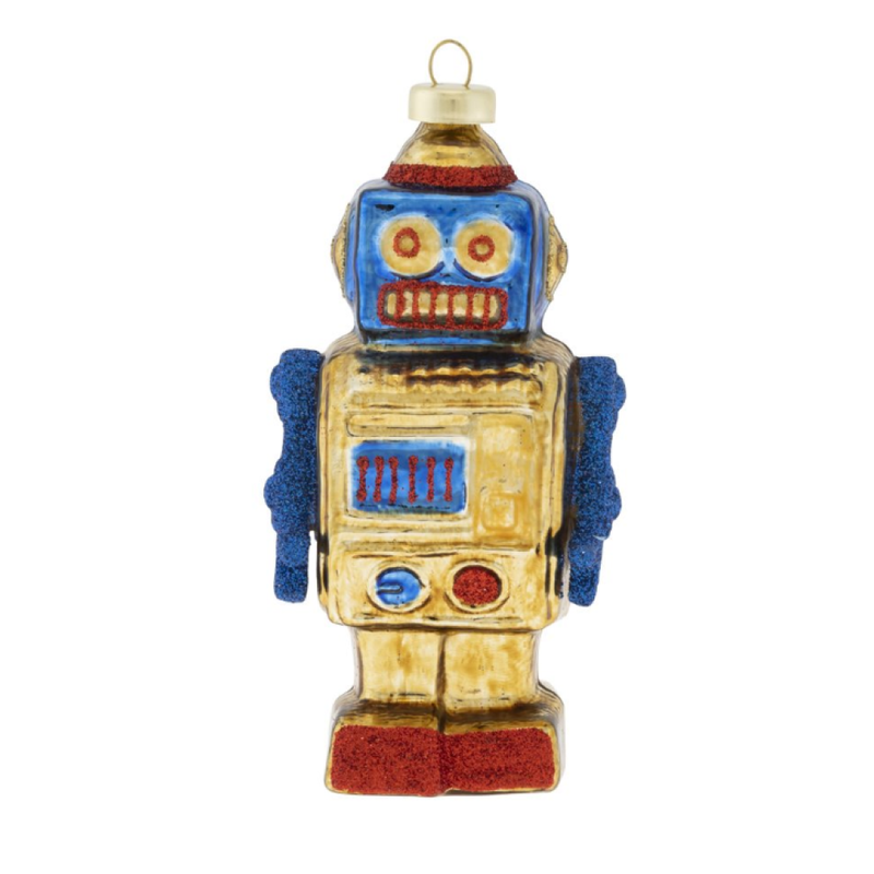 Christopher Radko Kat and Annie Robot Ornament