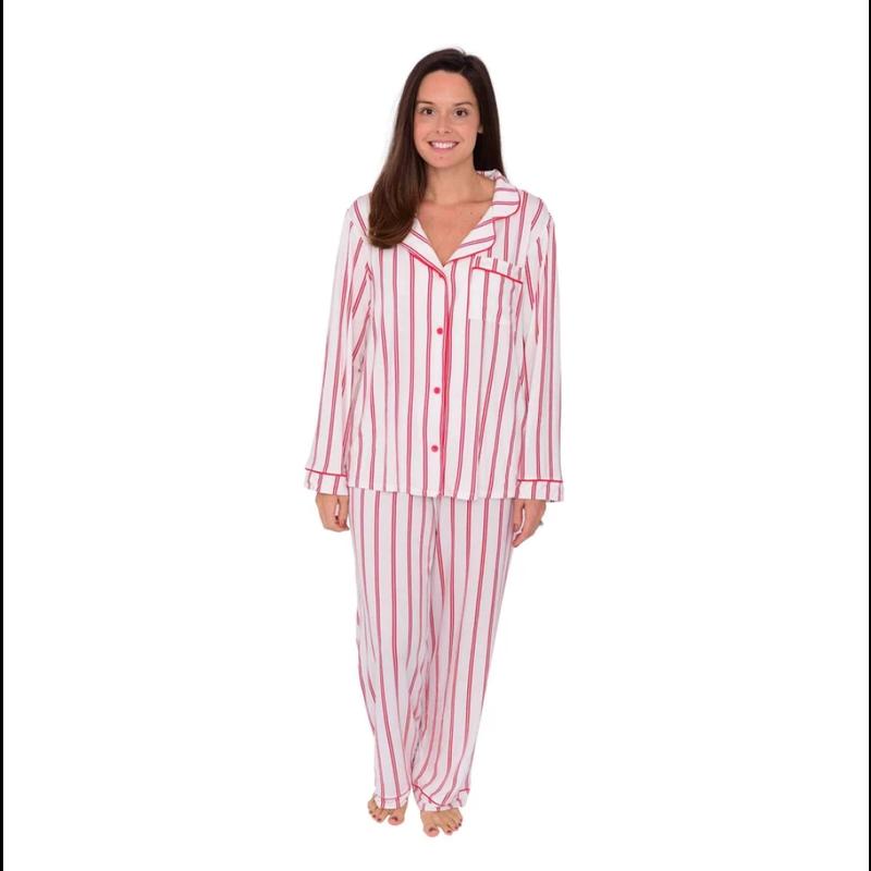 Kyte Baby Kyte Baby Women's Pajama Set in Crimson Stripes