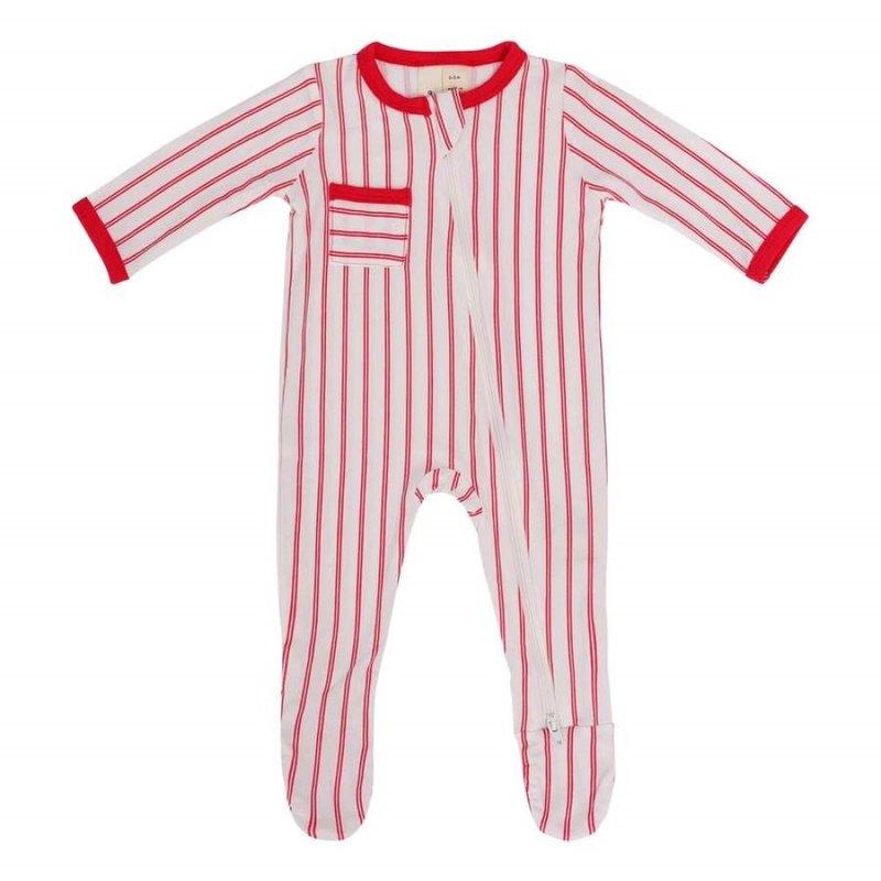 Kyte Baby Kyte Baby Zippered Footie in Crimson Stripes