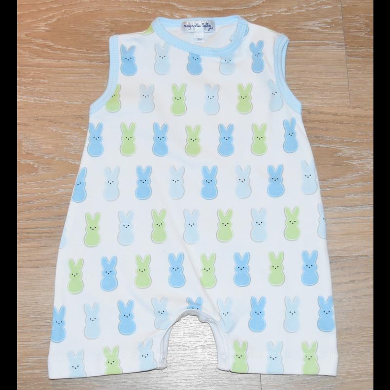 Magnolia Baby Magnolia Baby Peeps Printed Sleeveless Short Light Blue Playsuit