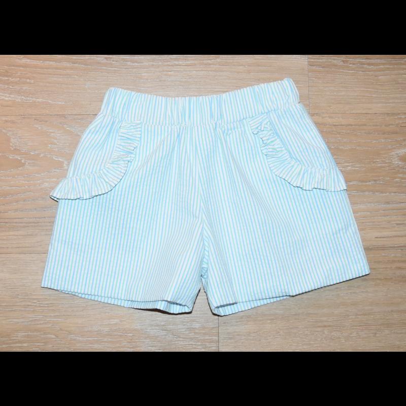 Zuccini Zuccini Girl Mint/Light Blue Seersucker Short